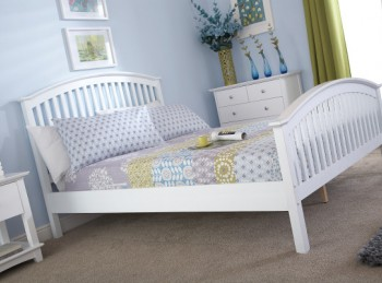 GFW Madrid 4ft Small Double White Wooden Bed Frame
