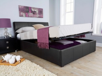 GFW Ascot 4ft6 Double Black Faux Leather Ottoman Bed Frame