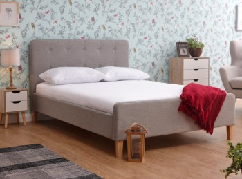 GFW Ashbourne 4ft6 Double Light Grey Fabric Bed Frame