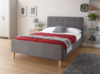 GFW Ashbourne 4ft6 Double Dark Grey Fabric Bed Frame