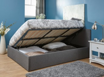 GFW Side Lift Ottoman 5ft Kingsize Grey Fabric Bed Frame