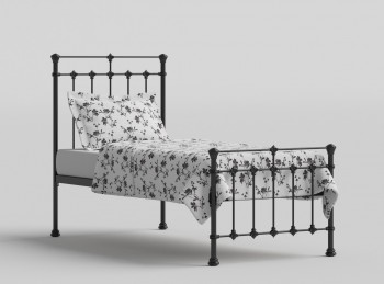 OBC Edwardian 2ft 6 Small Single Satin Black Metal Bed Frame