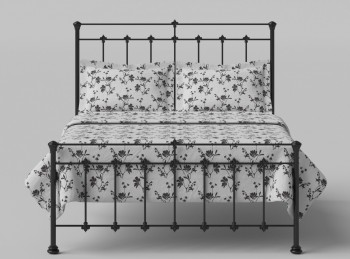 OBC Edwardian 4ft 6 Double Satin Black Metal Headboard