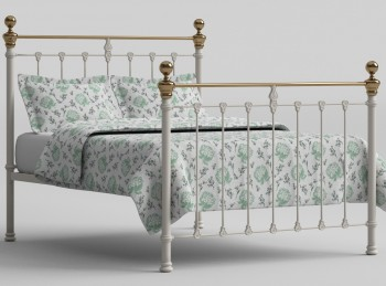 OBC Hamilton 4ft Small Double Glossy Ivory Metal Bed Frame
