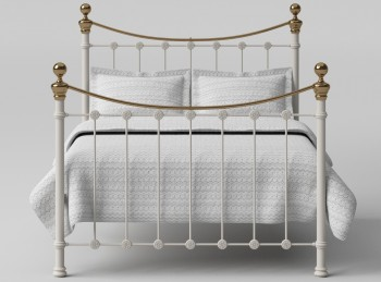 OBC Selkirk 3ft Single Glossy Ivory Metal Headboard