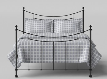 OBC Winchester 4ft 6 Double Satin Black Metal Headboard