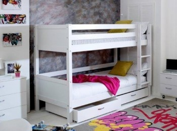Flexa Nordic Bunk Bed 2 With Flat White End Panels And Drawers