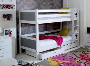 Flexa Nordic Bunk Bed 2 With Flat Grey End Panels And Drawers