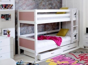 Flexa Nordic Bunk Bed 2 With Flat Rose End Panels And Drawers