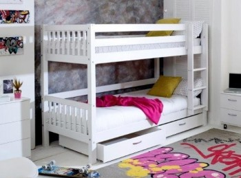 Flexa Nordic Bunk Bed 2 With Slatted End Panels And Drawers