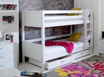 Flexa Nordic Bunk Bed 2 With Grooved White End Panels And Drawers