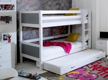 Flexa Nordic Bunk Bed 3 With Flat Grey End Panels And Trundle Bed