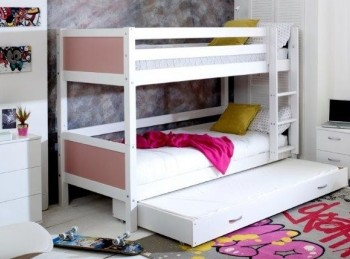 Flexa Nordic Bunk Bed 3 With Flat Rose End Panels And Trundle Bed