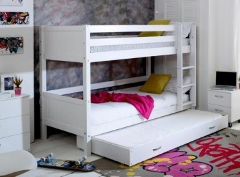 Flexa Nordic Bunk Bed 3 With Grooved White End Panels And Trundle Bed