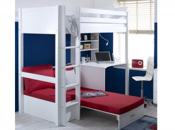 Flexa Nordic Highsleeper Bed 3 With Flat White End Panels, Desk And Red Sofabed