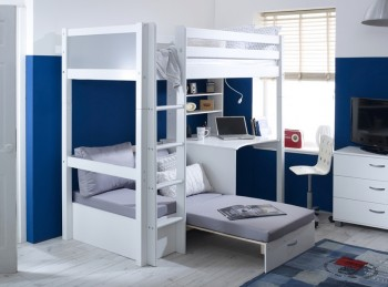 Flexa Nordic Highsleeper Bed 3 With Grey End Panels, Desk And Silver Sofabed