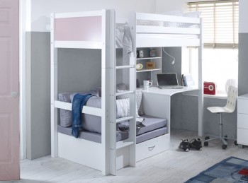 Flexa Nordic Highsleeper Bed 3 With Rose Colour End Panels, Desk And Silver Sofabed