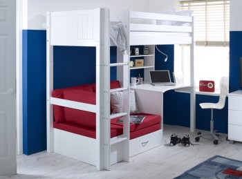 Flexa Nordic Highsleeper Bed 3 With Grooved End Panels, Desk And Red Sofabed