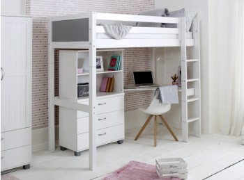 Flexa Nordic Highsleeper Bed 4 With Grey End Panels With Bookcase And Desk