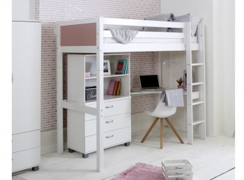 Flexa Nordic Highsleeper Bed 4 With Rose End Panels With Bookcase And Desk