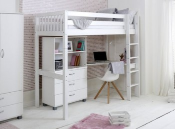 Flexa Nordic Highsleeper Bed 4 With Slatted End Panels With Bookcase And Desk
