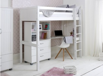Flexa Nordic Highsleeper Bed 4 With Grooved End Panels With Bookcase And Desk