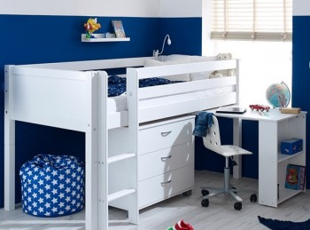 Flexa Nordic Midsleeper Bed 2 With Flat White End Panels, Desk And Chest