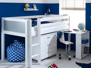 Flexa Nordic Midsleeper Bed 2 With Grey End Panels, Desk And Chest