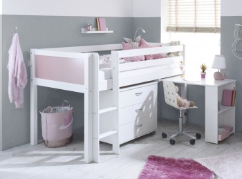 Flexa Nordic Midsleeper Bed 2 With Rose End Panels, Desk And Chest