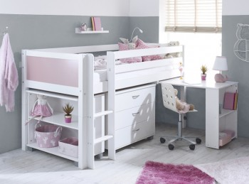 Flexa Nordic Midsleeper Bed 3 With Rose End Panels, Desk, Bookcase And Chest