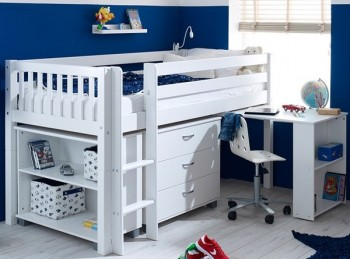 Flexa Nordic Midsleeper Bed 3 With Slatted End Panels, Desk, Bookcase And Chest