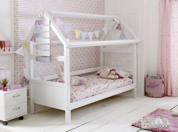 Flexa Nordic Playhouse Bed 1 With Flat White End Panels