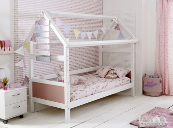 Flexa Nordic Playhouse Bed 1 With Rose Pink End Panels
