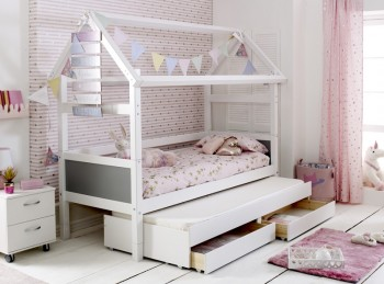 Flexa Nordic Playhouse Bed 2 With Grey End Panels And Trundle Bed With Drawers