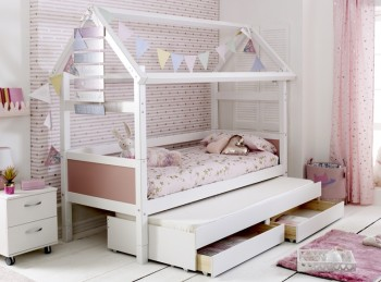 Flexa Nordic Playhouse Bed 2 With Rose Pink End Panels And Trundle Bed With Drawers