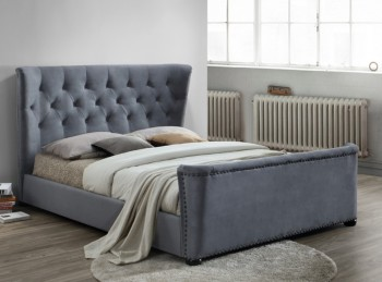 Birlea Barkley 4ft6 Double Grey Velvet Fabric Bed Frame