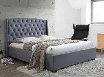 Birlea Balmoral 4ft6 Double Grey Velvet Fabric Bed Frame