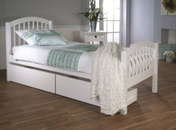 Limelight Despina 3ft single White Wooden Bed Frame with Under Bed Drawers