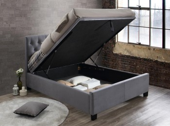 Birlea Cologne 5ft Kingsize Grey Fabric Ottoman Bed Frame
