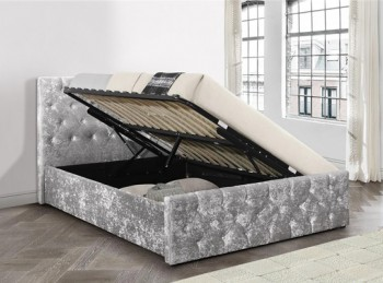Birlea Finsbury 4ft Small Double Steel Crushed Velvet Fabric Ottoman Bed Frame