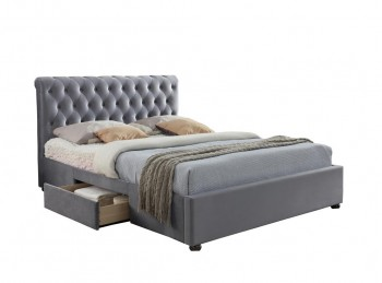 Birlea Marlow 4ft6 Double Grey Fabric Bed Frame with 2 Drawers
