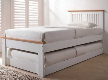 Sleep Design Malpas White And Oak finish Wooden Guest Bed