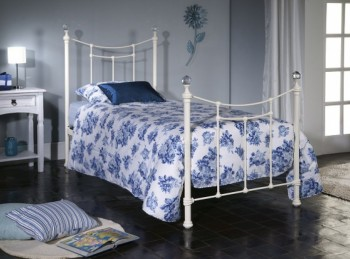Limelight Metis 4ft6 Double Ivory Metal Bed Frame with Crystal