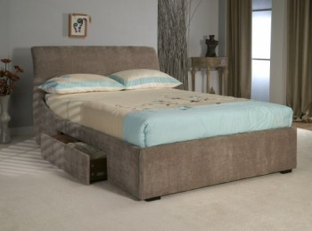 Limelight Oberon 6ft Super Kingsize Mink Fabric Bed Frame with Drawers