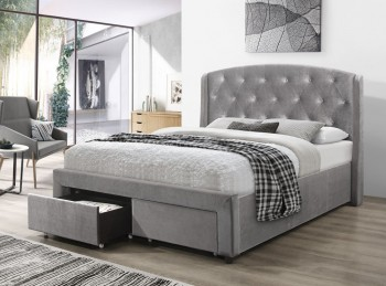 Flair Furnishings Ellen 4ft6 Double Silver Fabric Bed Frame