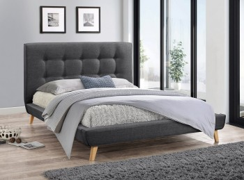 Flair Furnishings Jules 4ft6 Double Grey Fabric Bed Frame