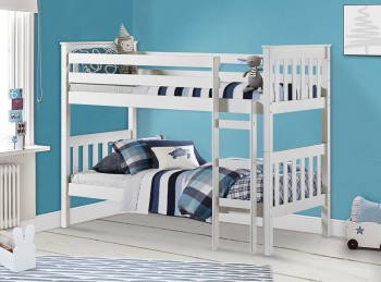 Birlea Portland 3ft Single Wooden Pine Bunk Bed In White