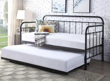 Sleep Design Harlow 3ft Single Black Metal Day Bed And Trundle