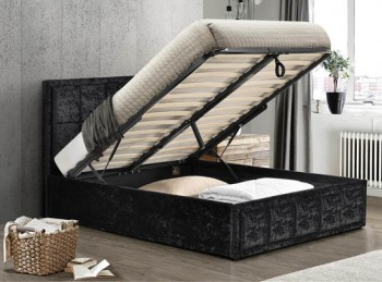 Birlea Hannover 4ft Small Double Black Crushed Velvet Fabric Ottoman Bed