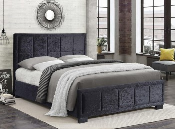 Birlea Hannover 5ft Kingsize Black Crushed Velvet Fabric Bed Frame